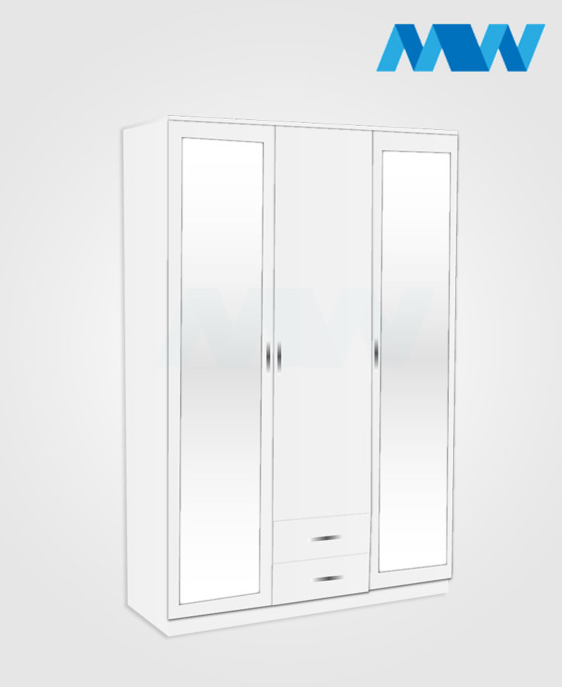 3 Door wardrobe with 2 mirrors and 2 drawers white