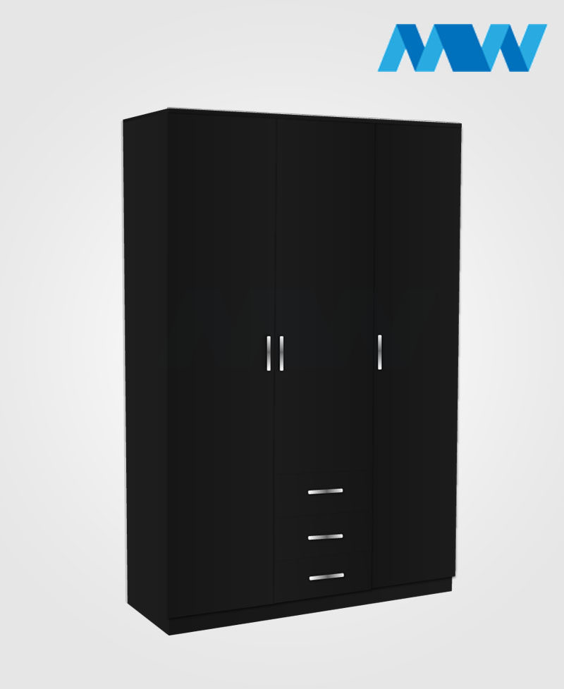 3 door 3 drawers black