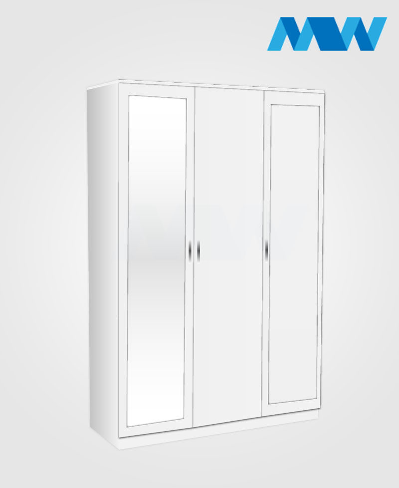 3 door 2 mirrored wardrobe white