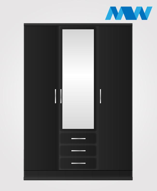 3 door black wardrobe