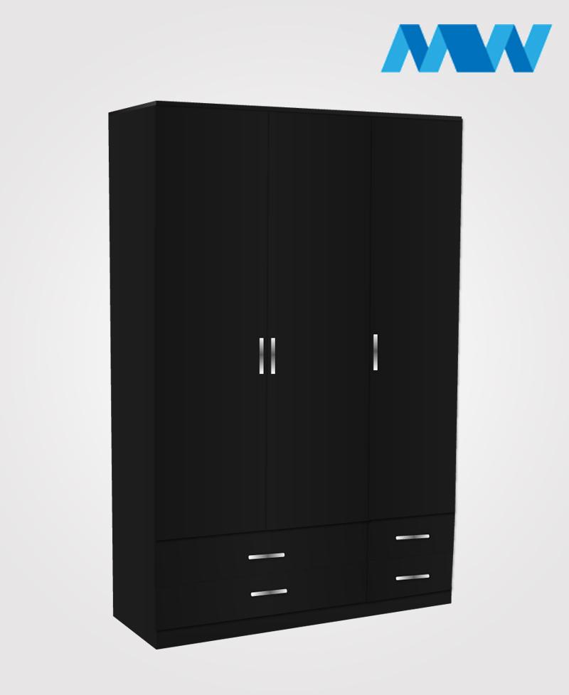3 door gloss wardrobe with 4 drawers black