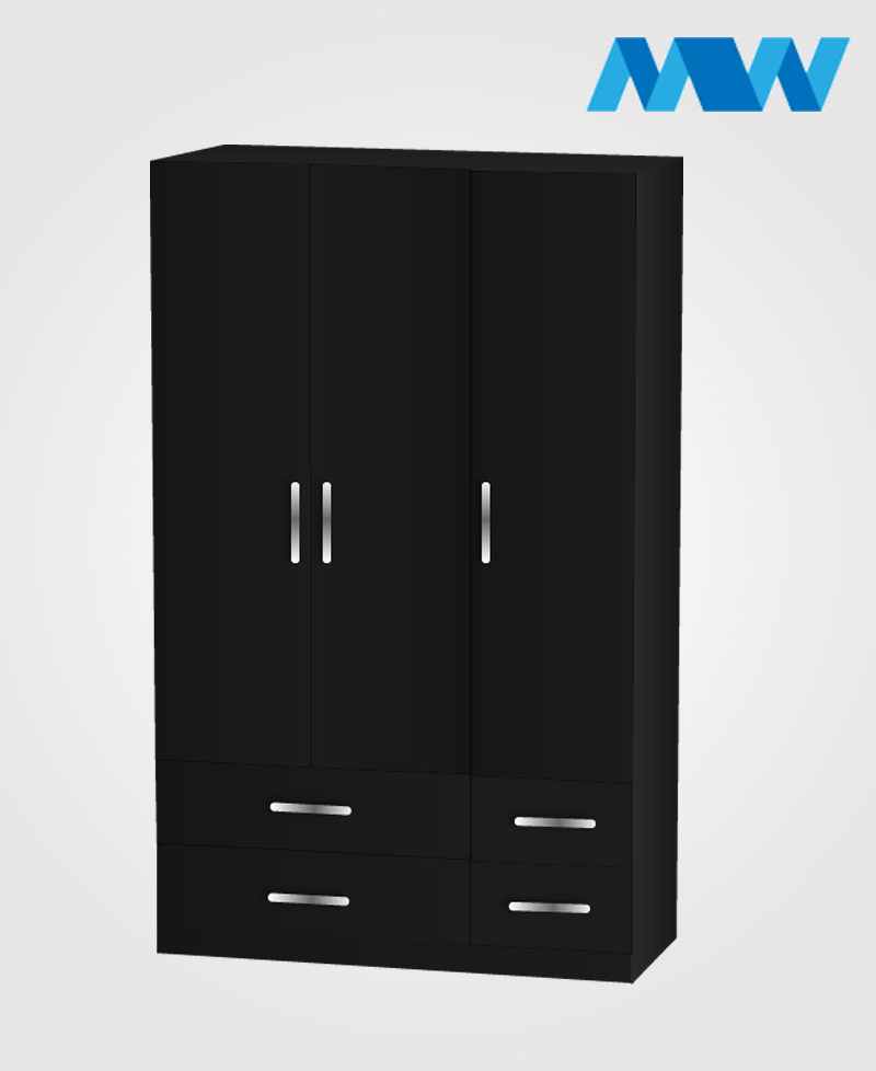 3 door gloss wardrobe with 4 drawers black
