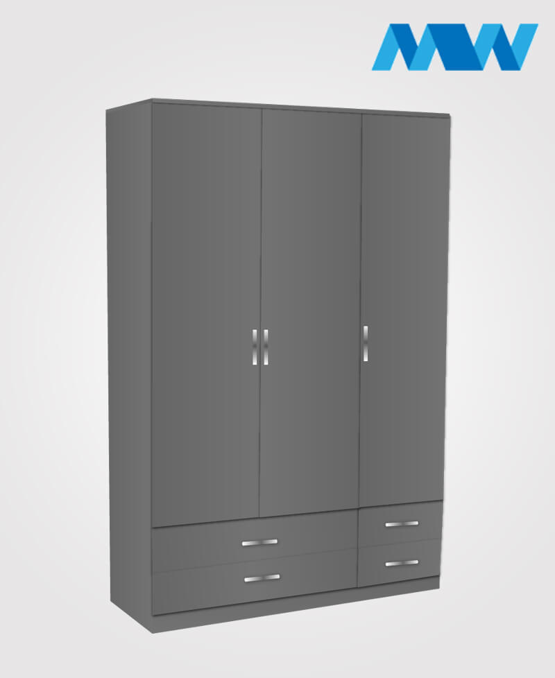 3 door gloss wardrobe with 4 drawers grey