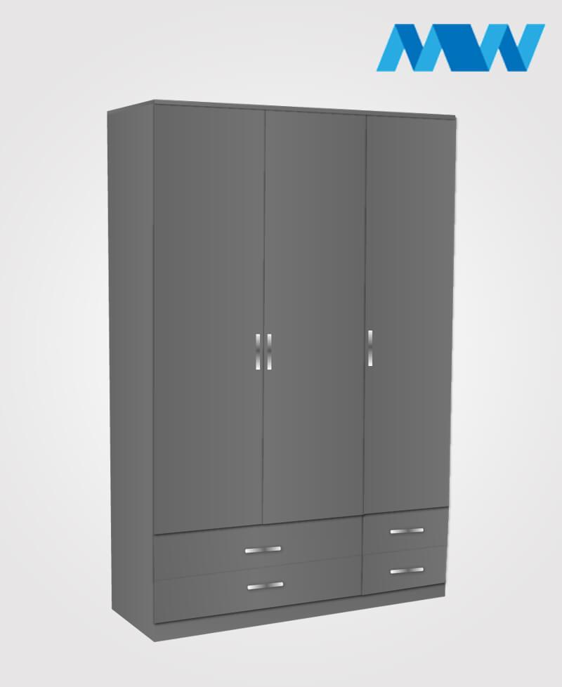 3 door gloss wardrobe with 4 drawers grey