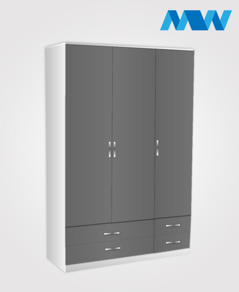3 door gloss wardrobe with 4 drawers grey adn white