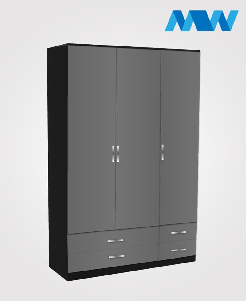 3 door gloss wardrobe with 4 drawers grey and black