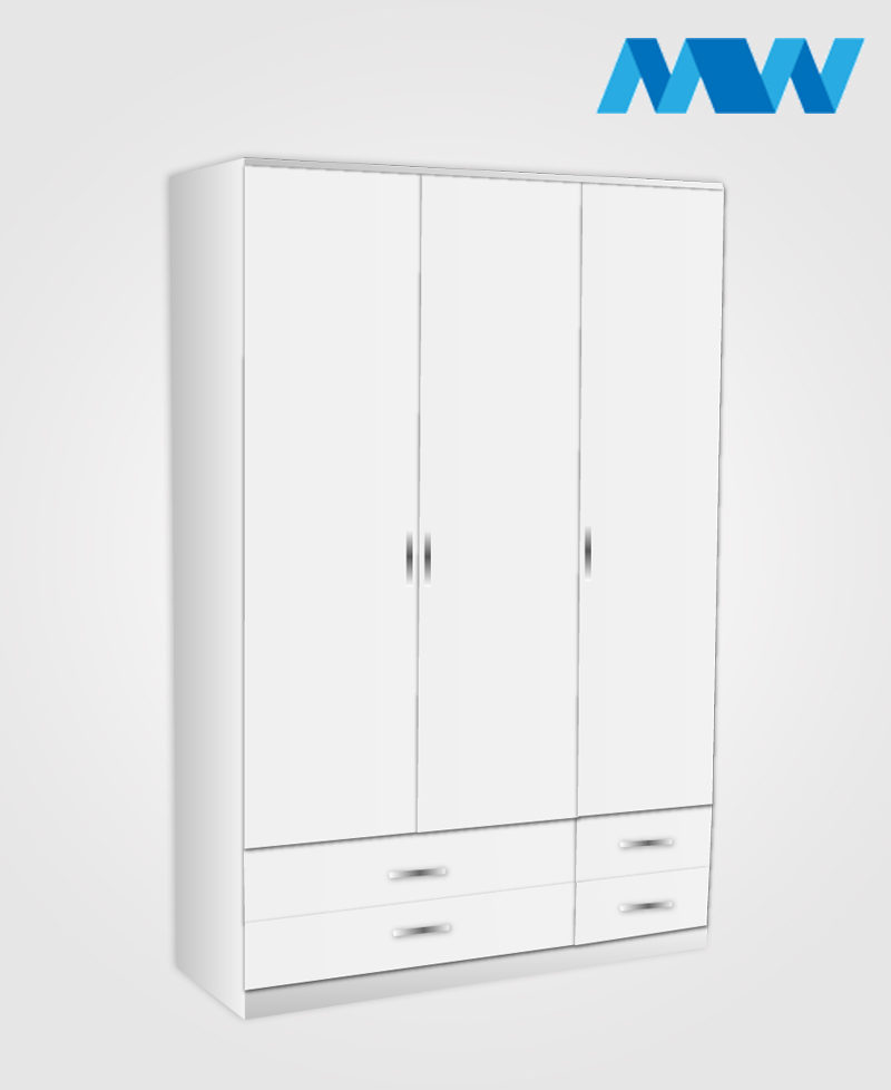 3 door gloss wardrobe with 4 drawers white
