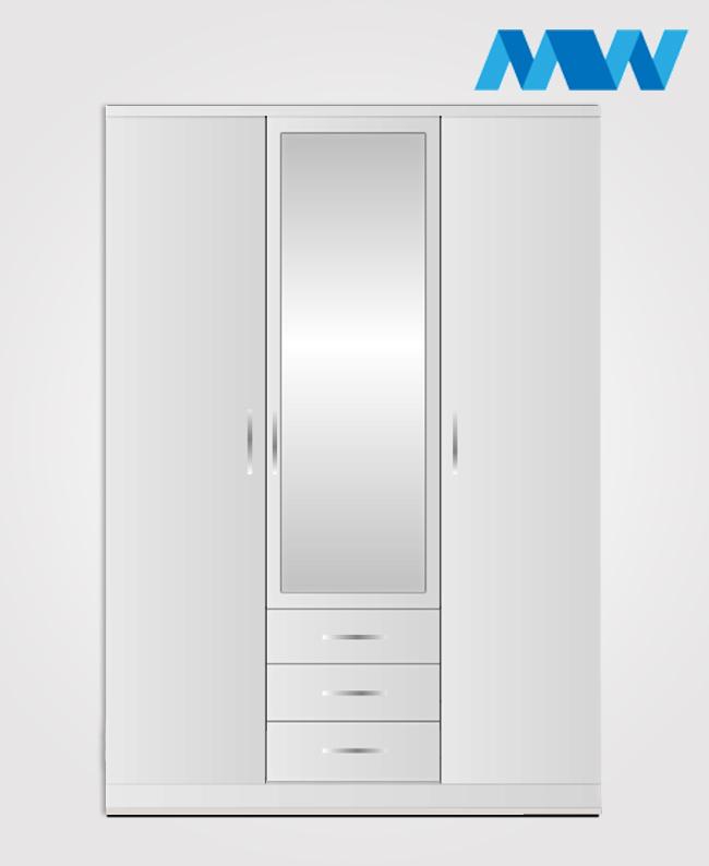 3 door white wardrobe