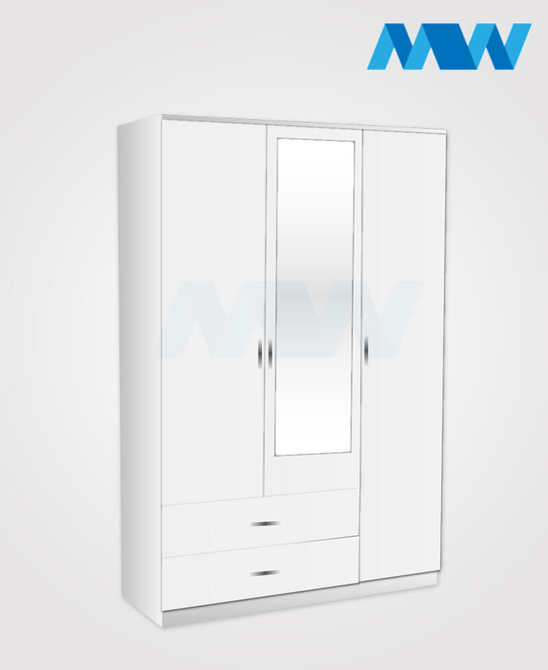 3 Door wardrobe with 1 mirror and 2 drawers white