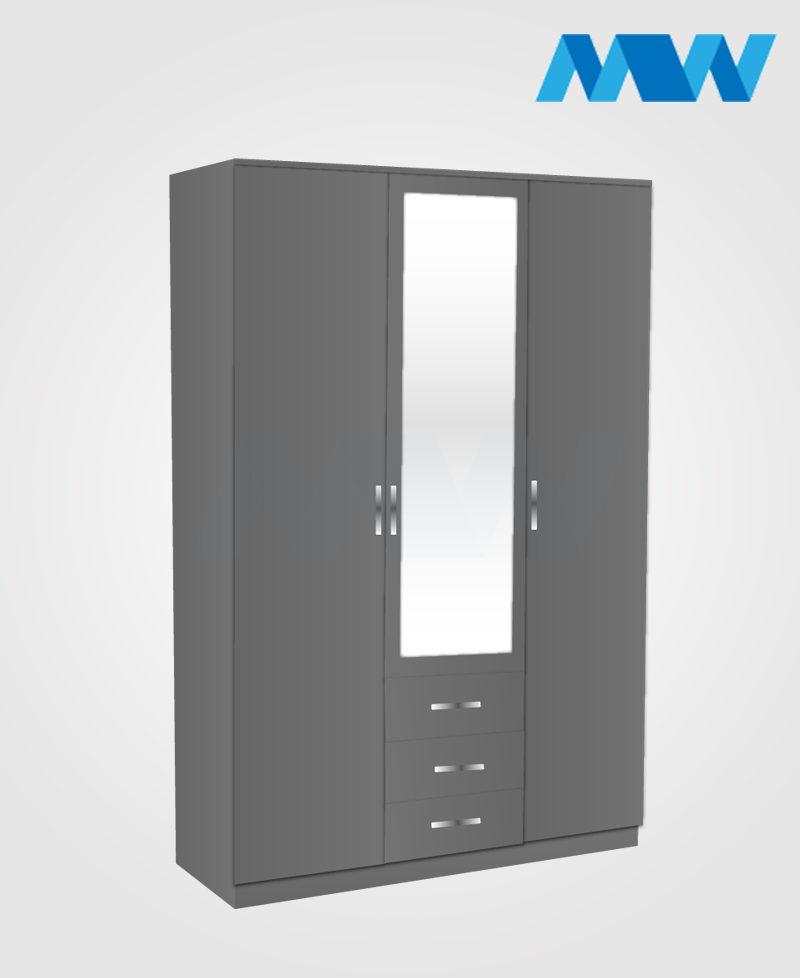 Trivia 3 Door Combi Wardrobe With Mirror And Drawer grey