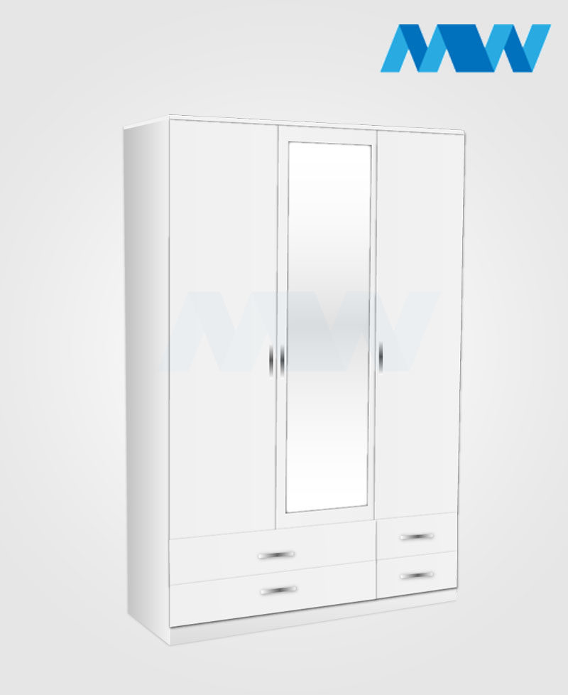 3 Door 1 door mirrored wardrobe with 4 drawers white