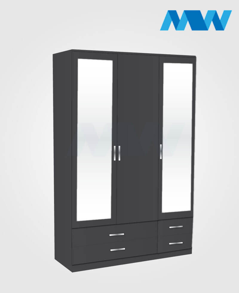 3 door wardrobe with 2 mirrors and 4 drawers black