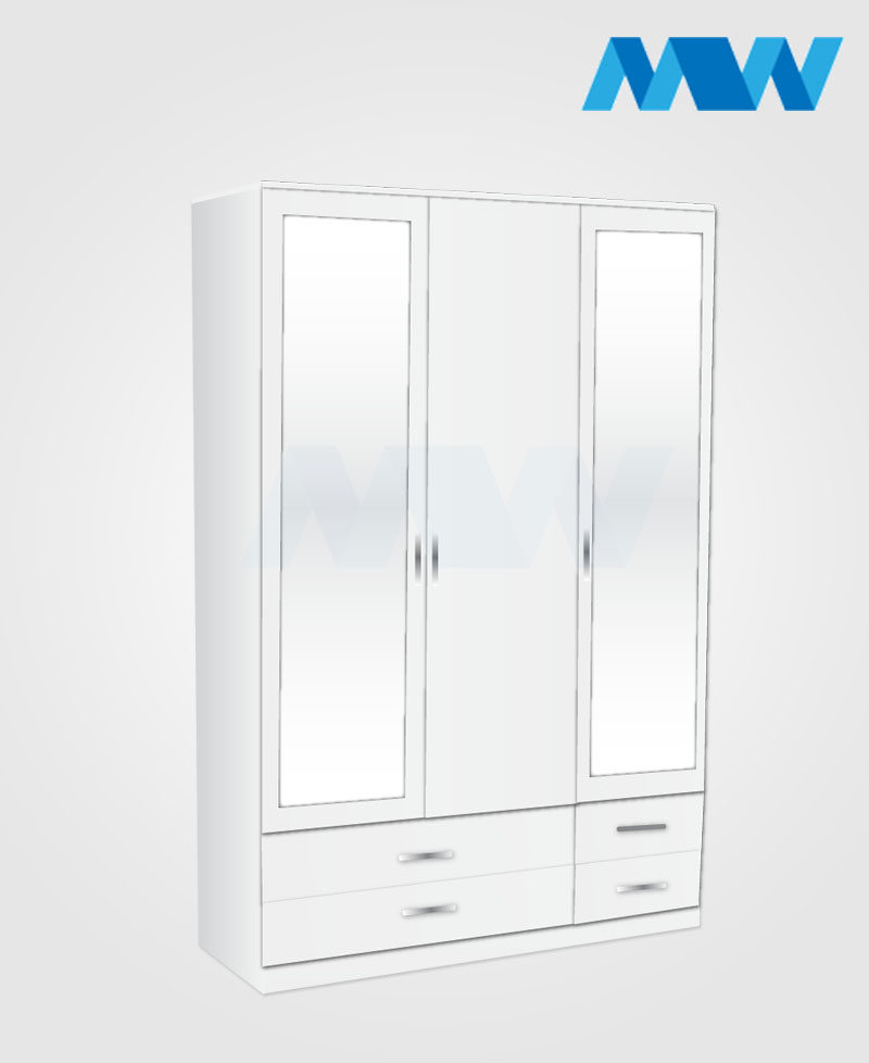3 door wardrobe with 2 mirrors and 4 drawers white