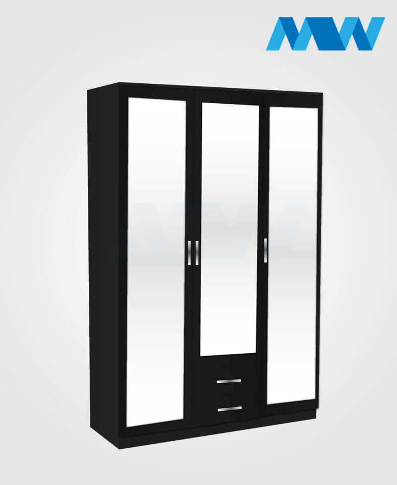 3 door wardrobe with 3 mirrors and 2 drawers black