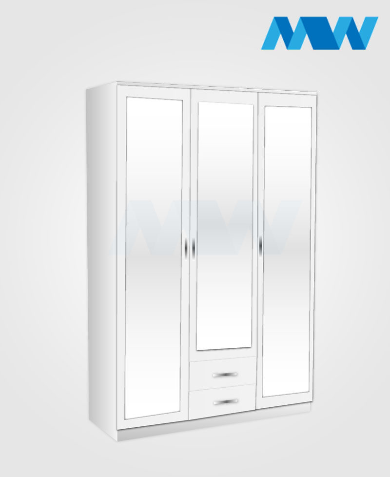 3 door wardrobe with 3 mirrors and 2 drawers white