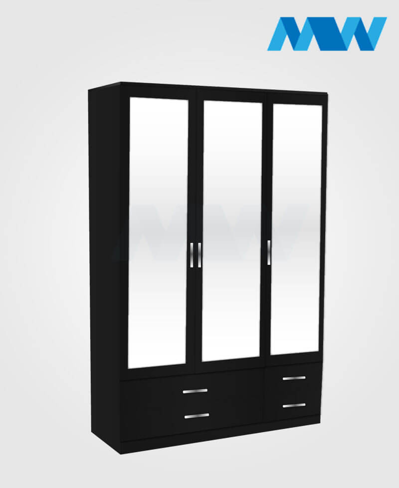 3 Door mirrored wardrobe with 4 drawers black