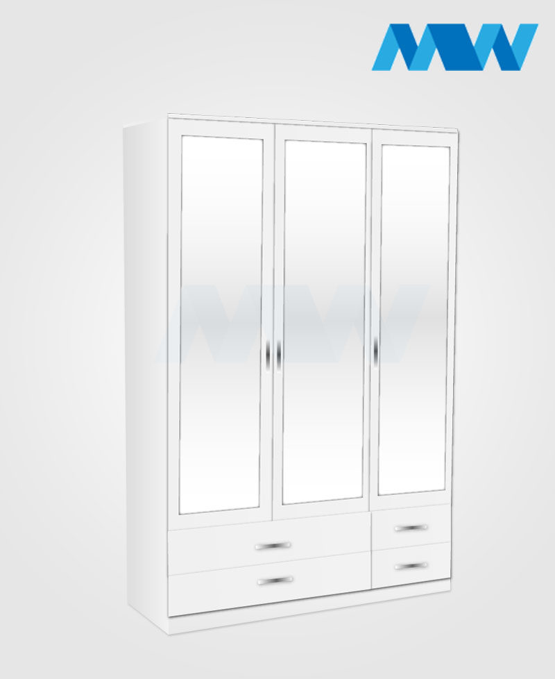 3 Door mirrored wardrobe with 4 drawers white