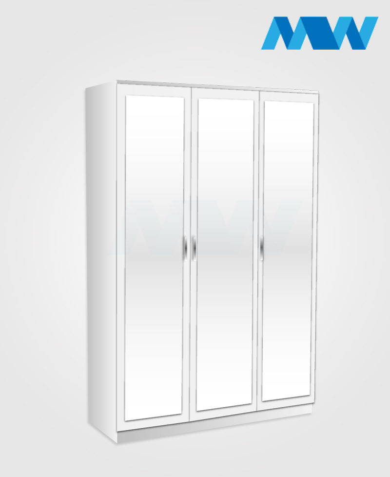 Trivia 3 Door Mirrored Wardrobe white