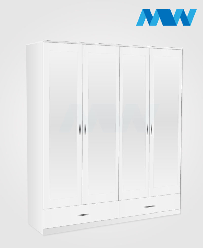 4 door mirrored wardrobe with 2 drawers white