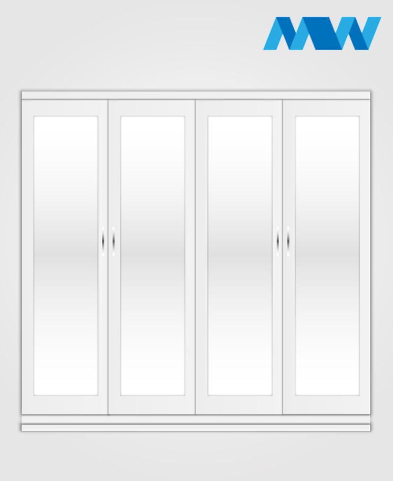 4 Door with 4 mirrors wardrobe white