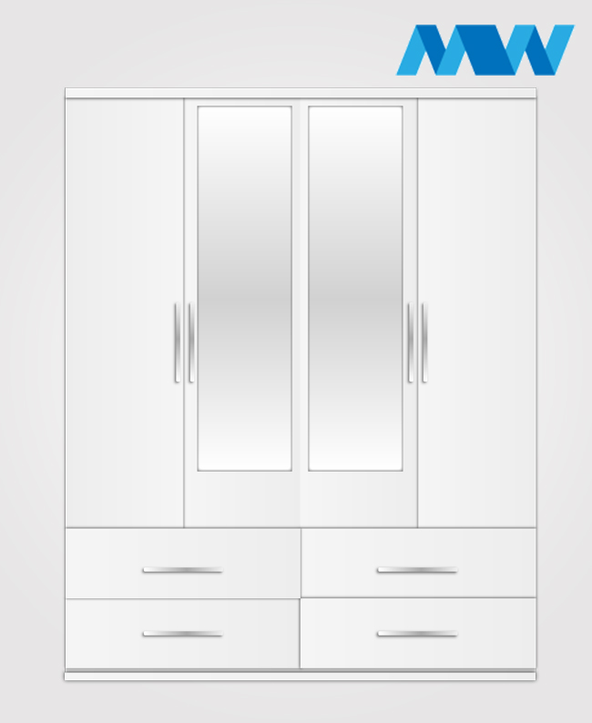 4 door 2 mirros with 4 drawers wardrobe white