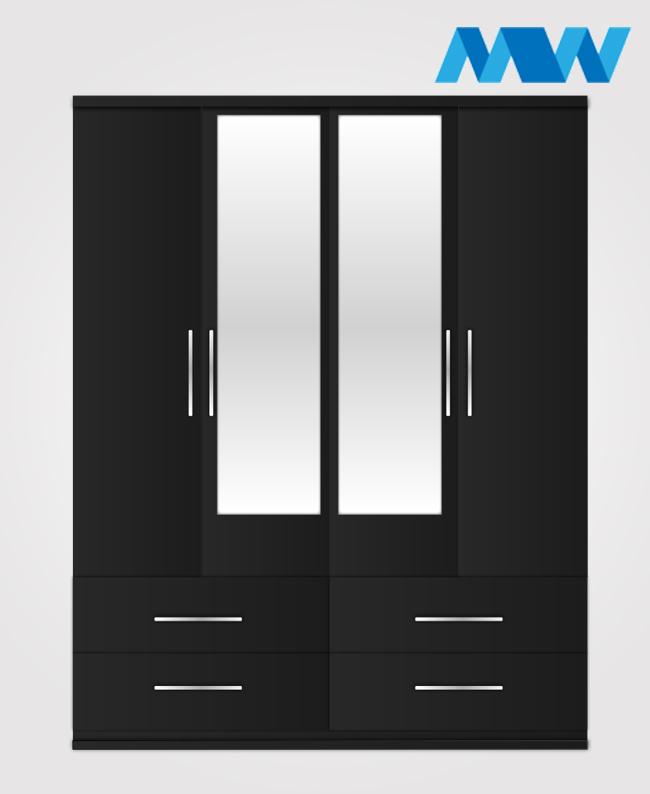 4 Door 2 mirrors with 4 drawerswardrobe