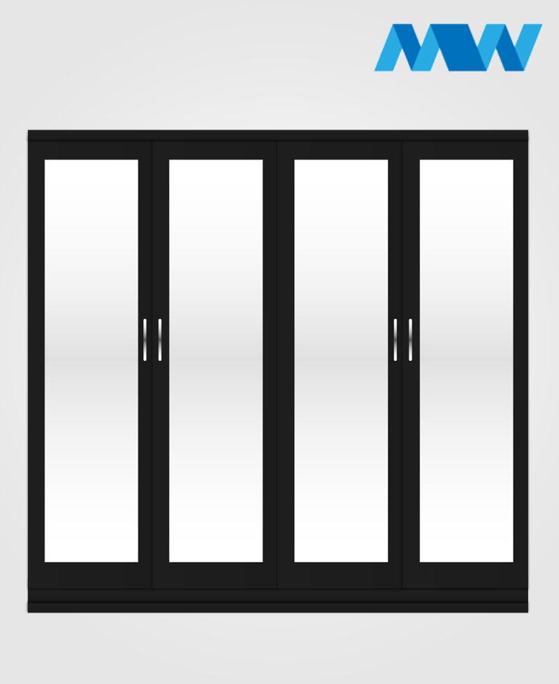 4 Door with 4 mirrors wardrobe black