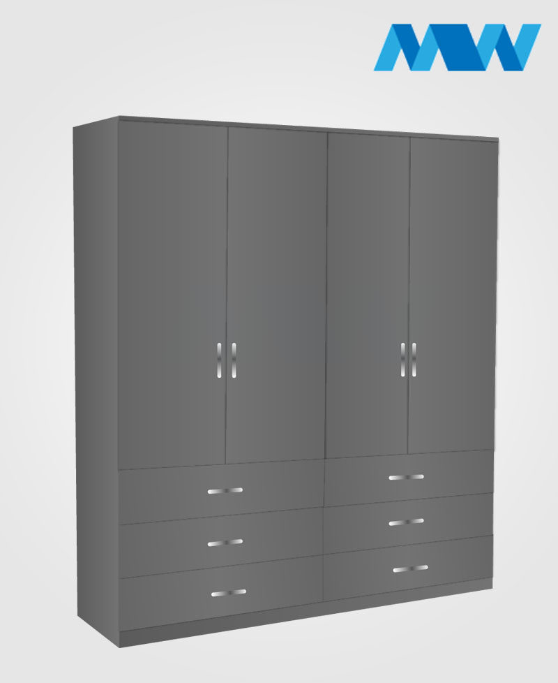 4 Door wardrobe with 6 drawers grey