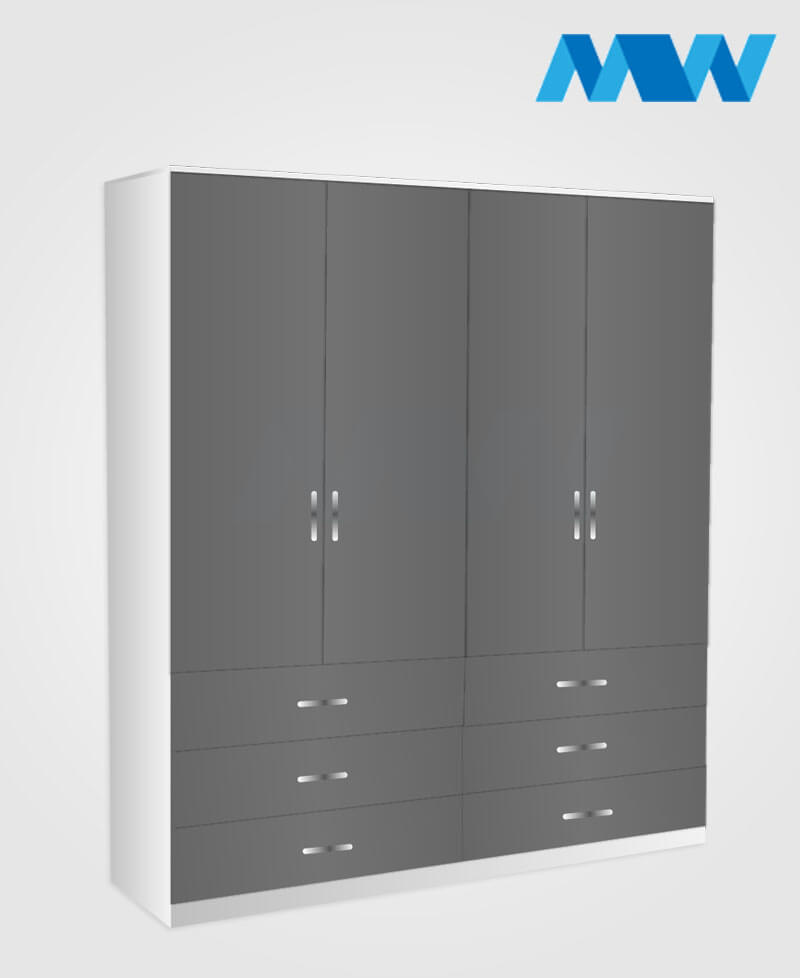 4 Door wardrobe with 6 drawers grey and white