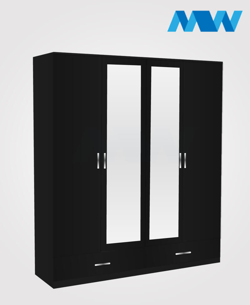 4 door wardrobe with 2 mirrors and 2 drawers black