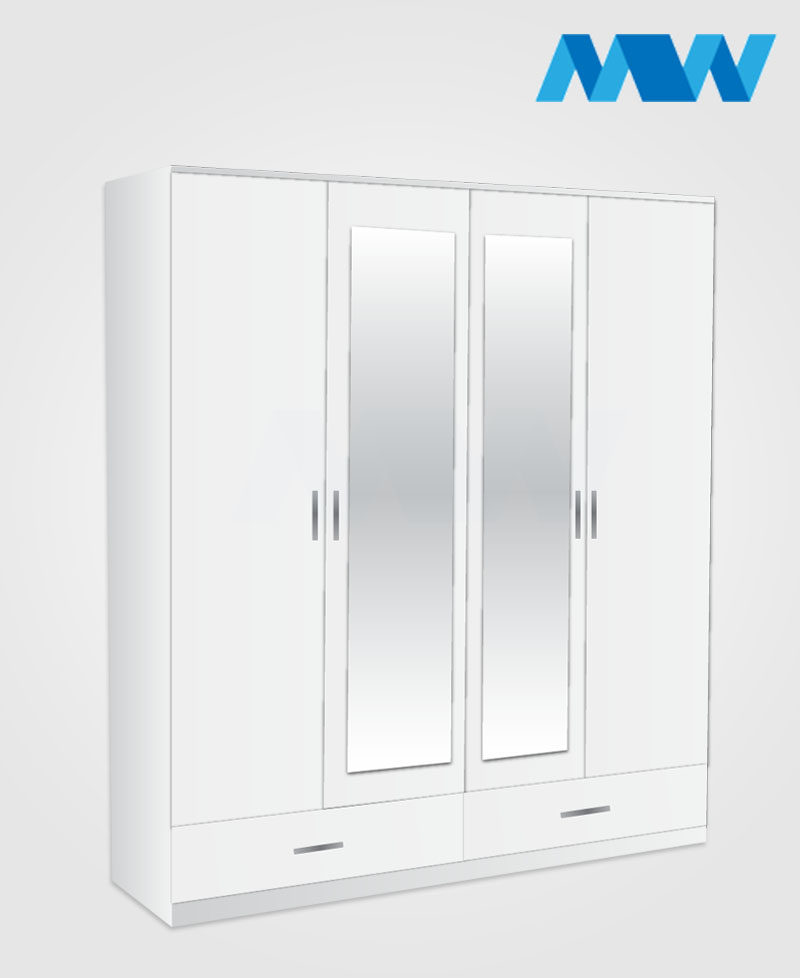 4 Door wardrobe with 2 mirrors and 2 drawers white