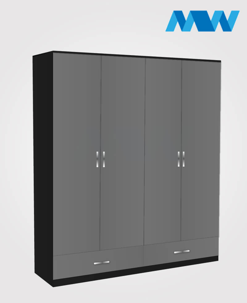 4 Door wardrobe with 2 drawers black and grey