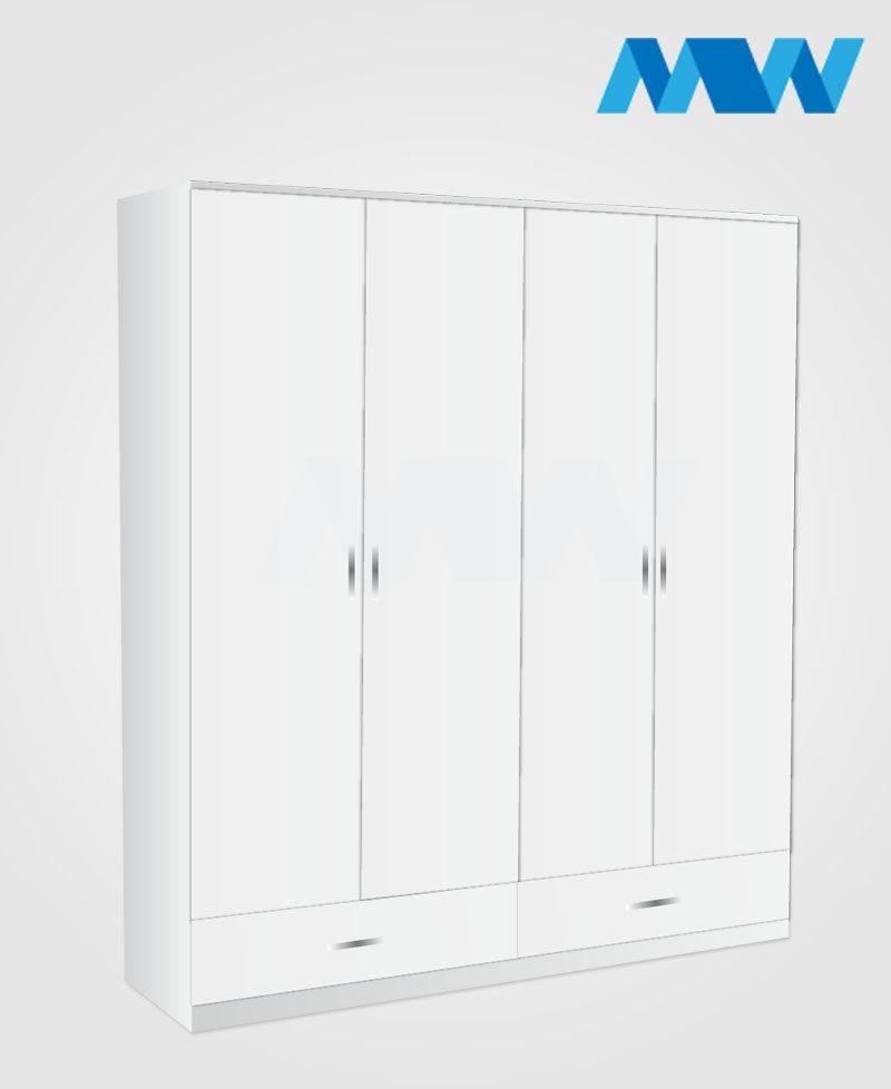4 Door wardrobe with 2 drawers white