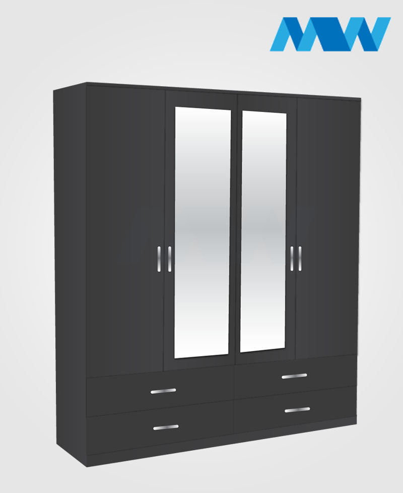 4 Door wardrobe with 2 mirrors 4 drawers black