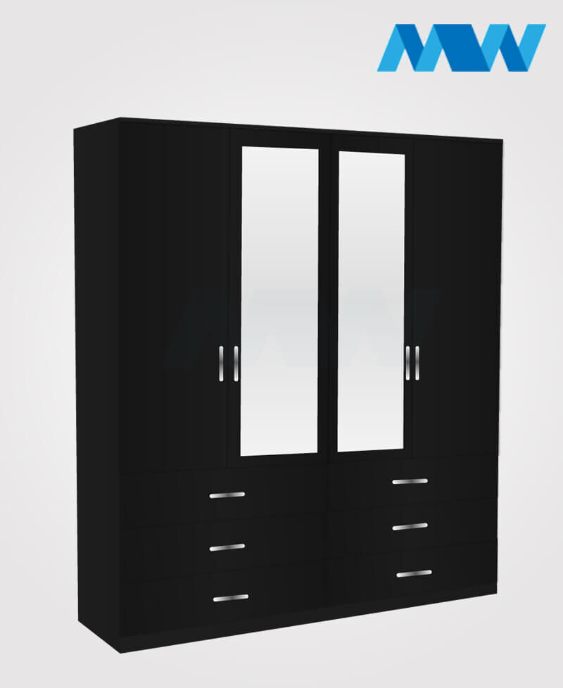4 Door wardrobe with 2 mirrors 6 drawers black