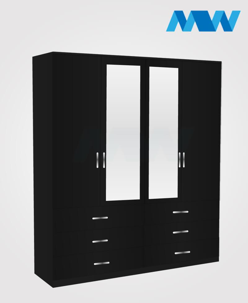 4 Door wardrobe with 2 mirrors 6 drawers black