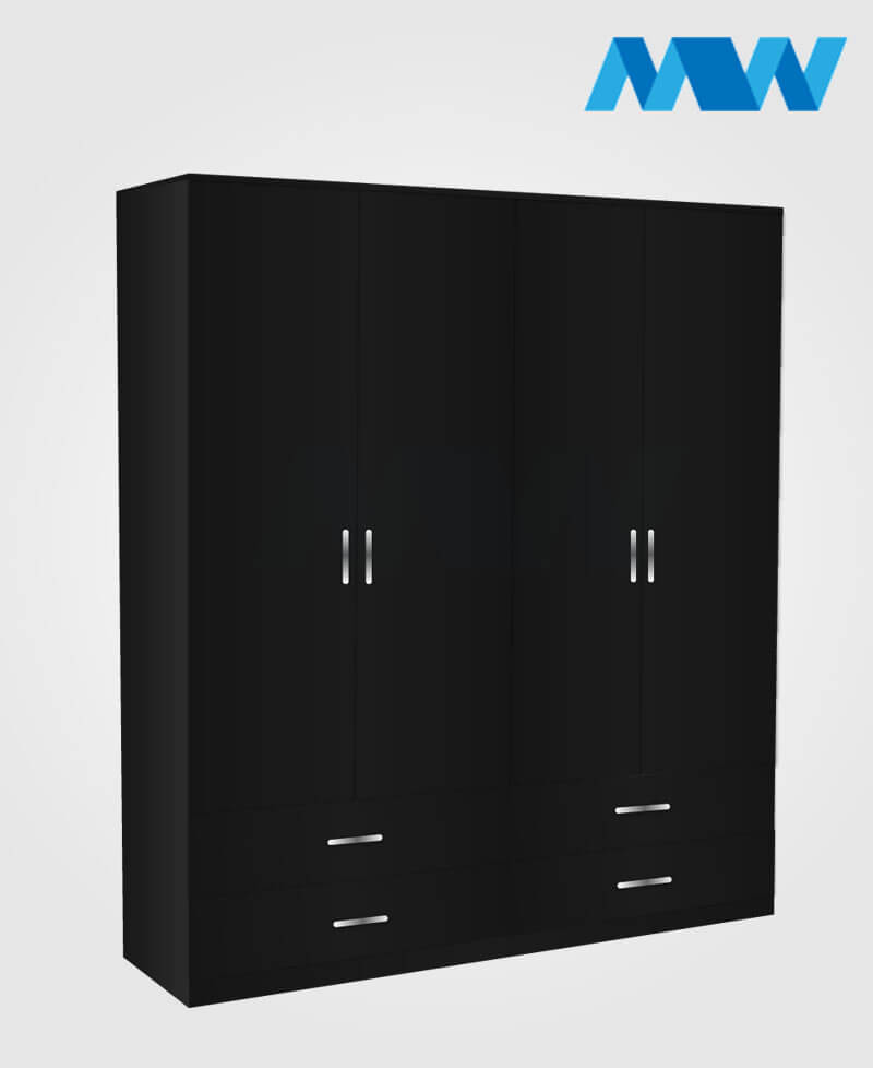 4 Door wardrobe with 4 drawers black