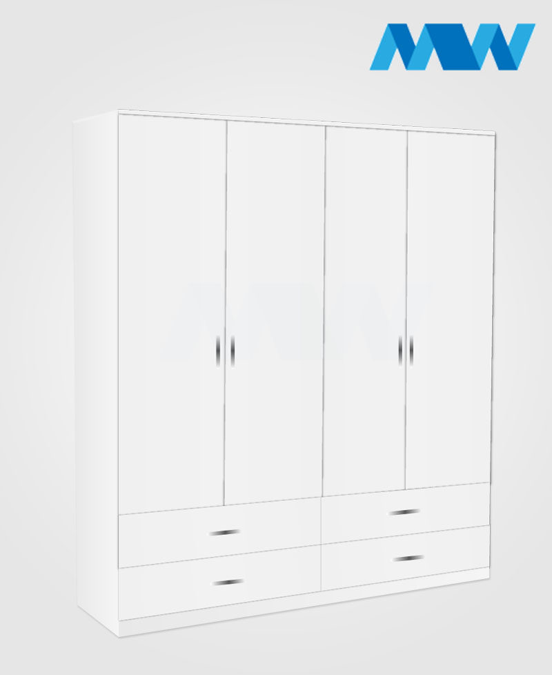 4 Door wardrobe with 4 drawers white