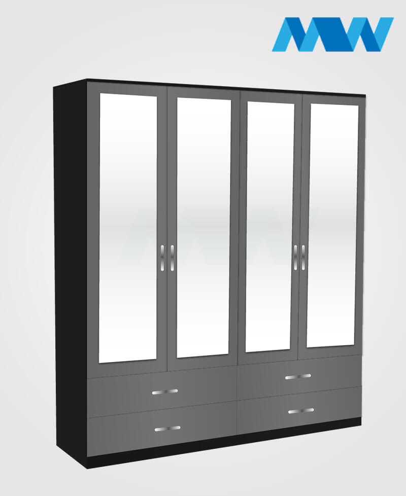 Omni 4 Door Wardrobe With 4 Mirrors and 4 Drawers black and grey
