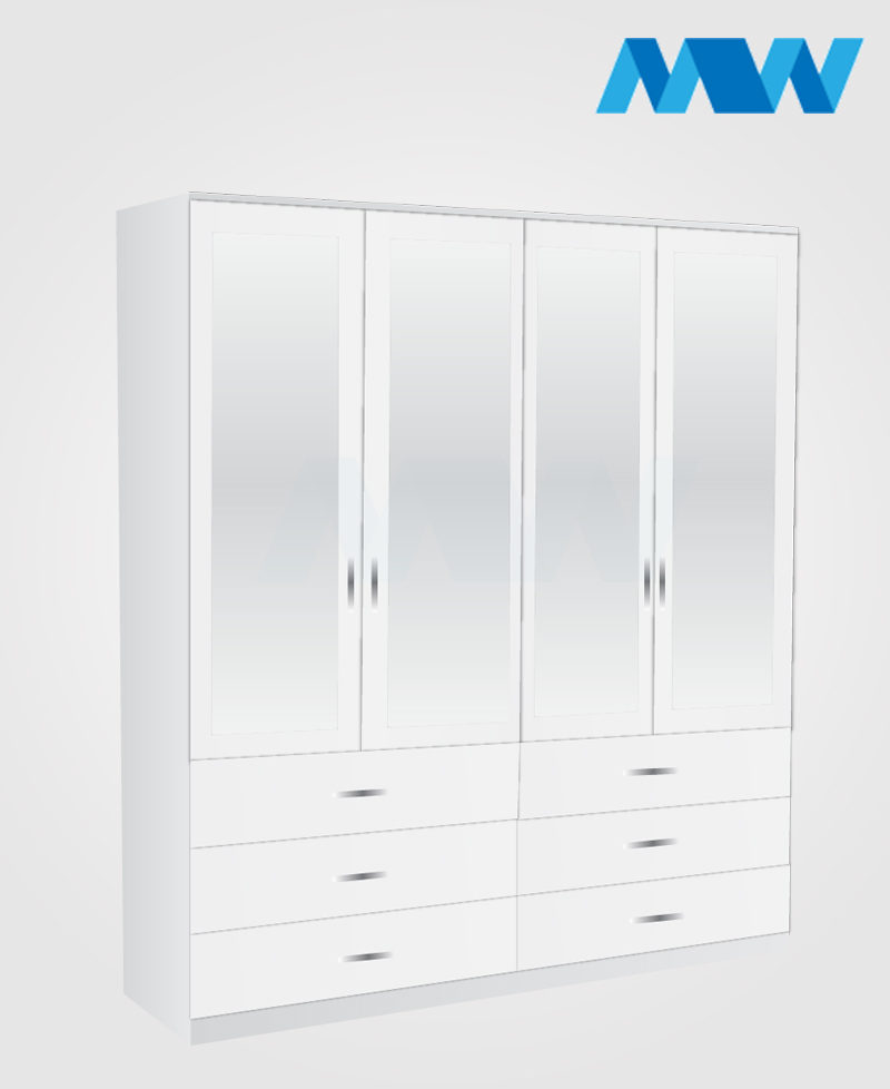 4 door wardrobe with 4 mirrors and 6 drawers white