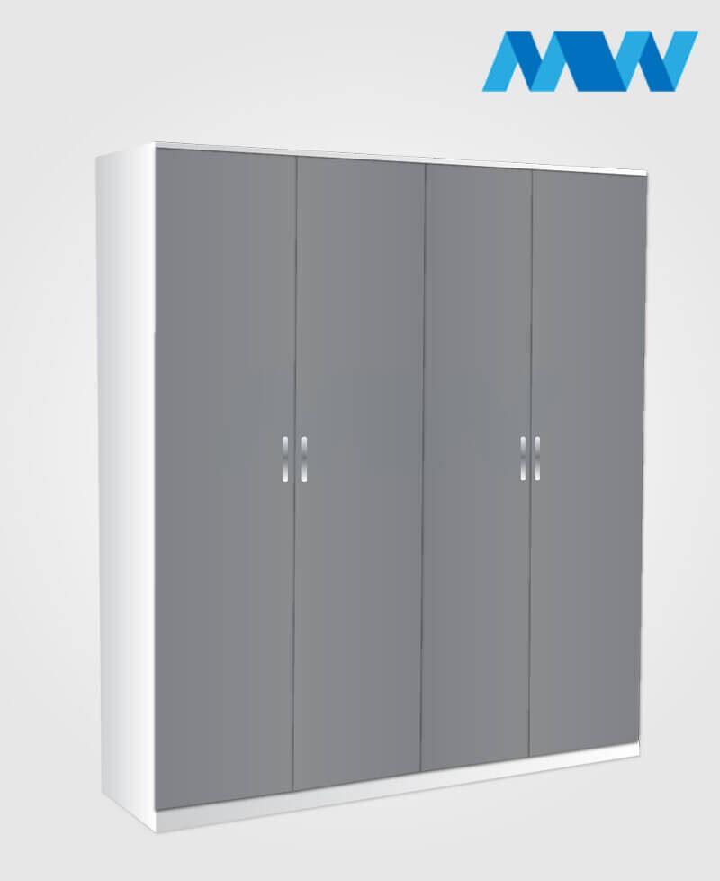 4 Door wardrobe grey and white