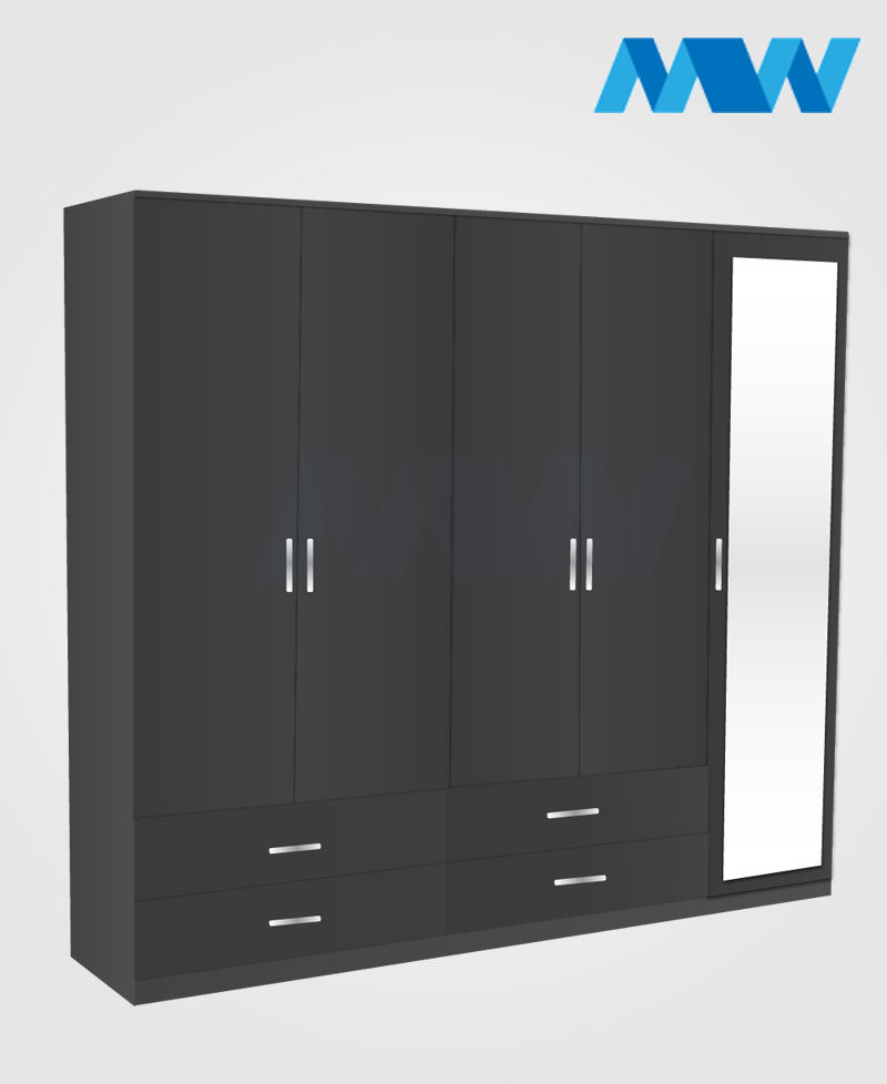 5 Door wardrobe with 1 mirror and 4 drawers black