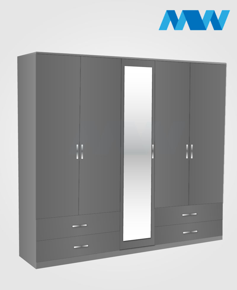 5 Door wardrobe with 1 mirror in center and 4 drawers grey