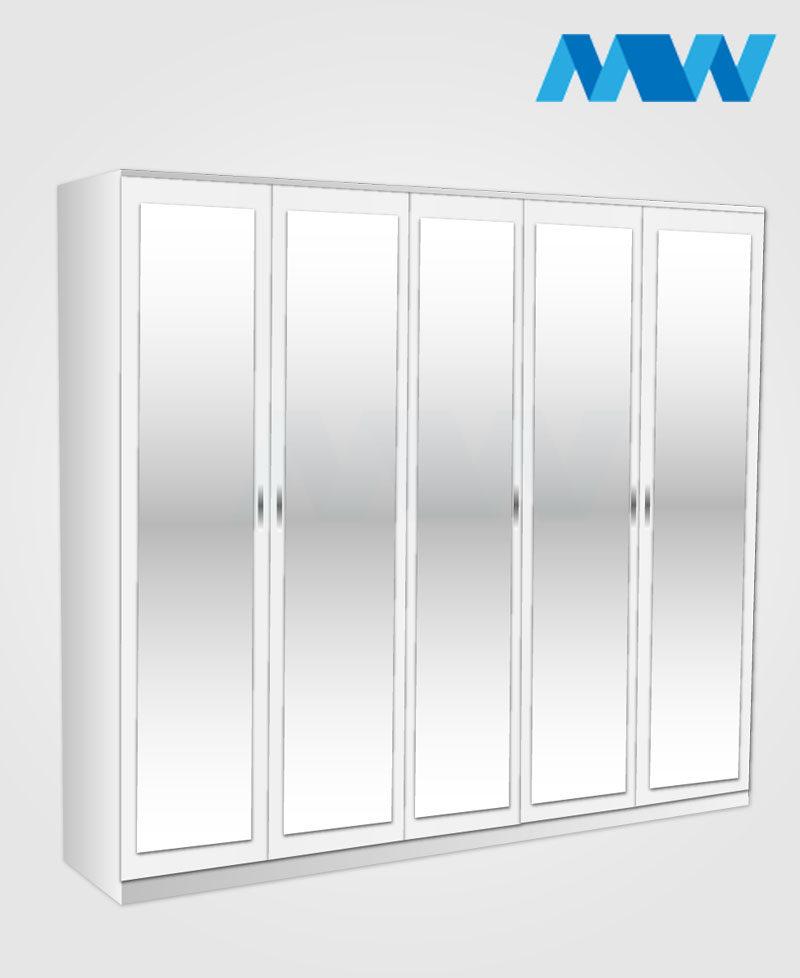 5 Door mirrored wardrobe white