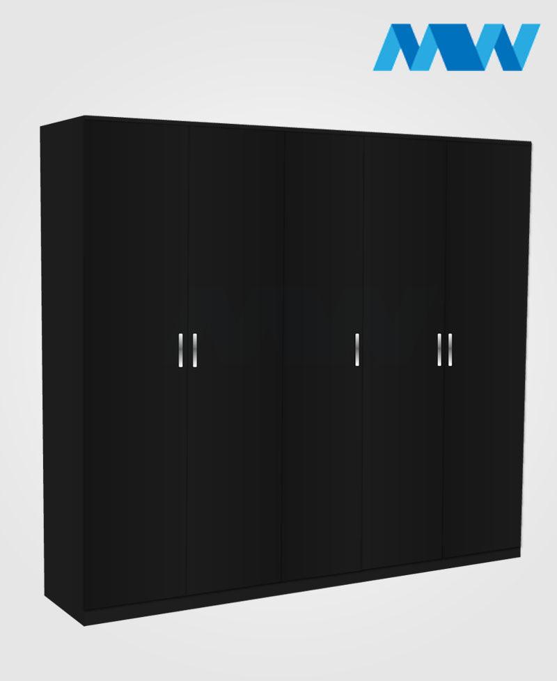 5 Door wardrobe black