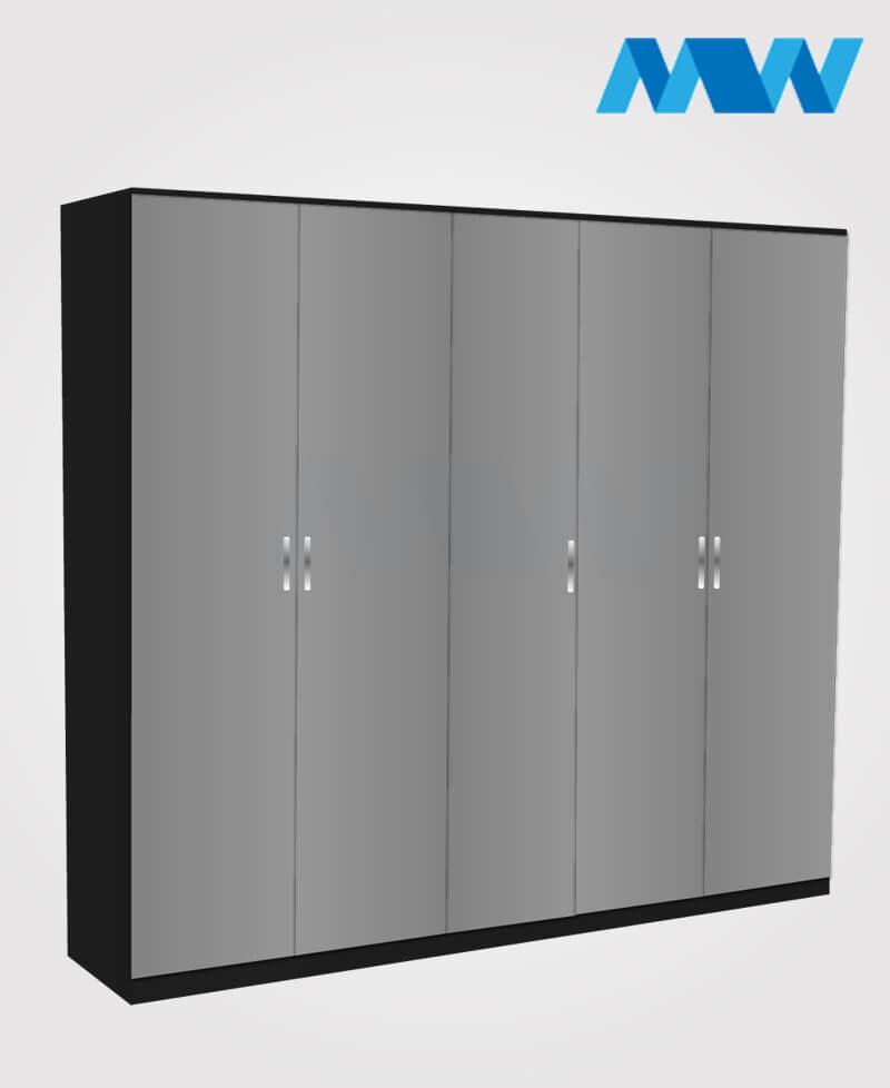 Apex 5 door wardrobe black and grey
