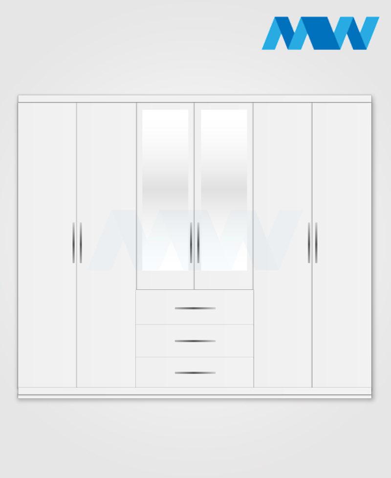 6 Door wardrobe with 2 mirros and 3 drawers white