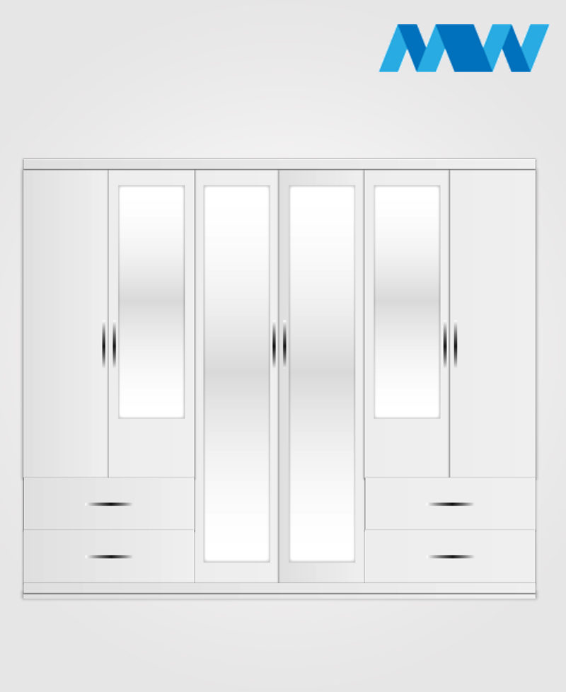 6 Door wardrobe with 4 mirrors and 4 drawers white