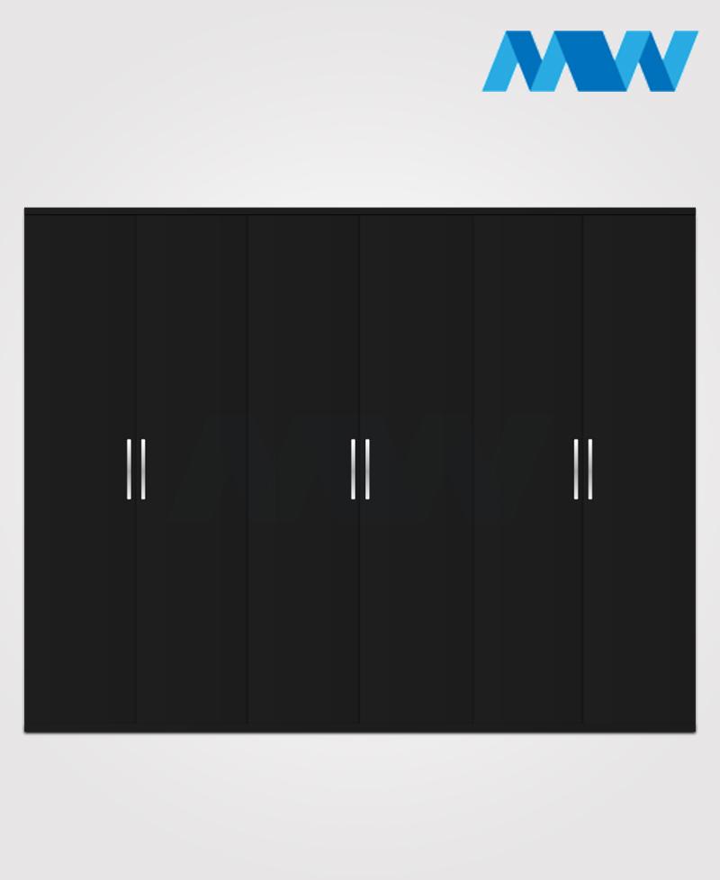 6 door plain wardrobe black