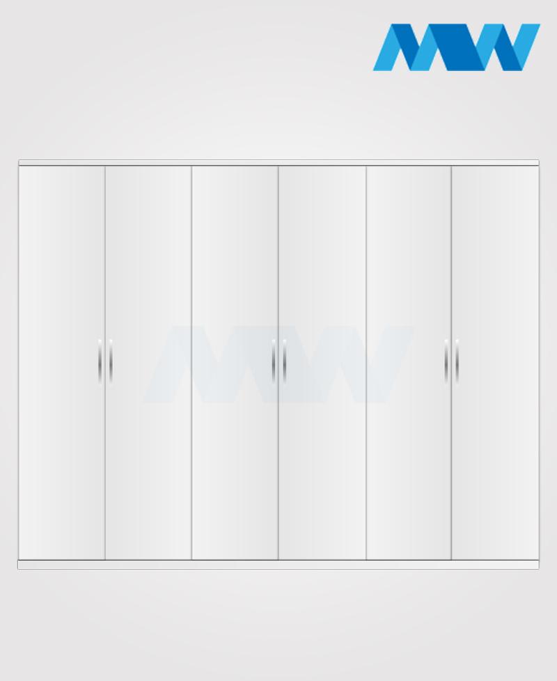 6 door plain wardrobe white